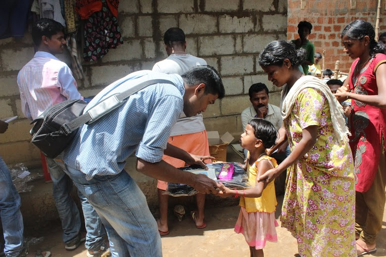 Sujith with the kids
